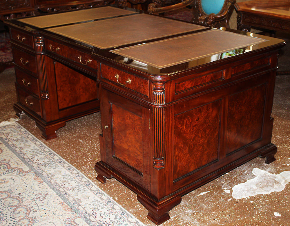 gorgeous burled walnut mahogany leather top partners executive desk