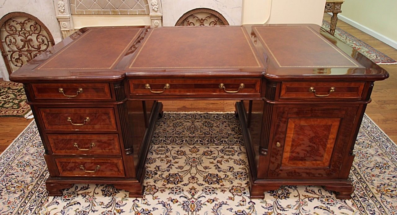 Stunning Satinwood Inlaid Mahogany Leather Top Partners Executive Desk MINT - Antique Desks And Library Tables