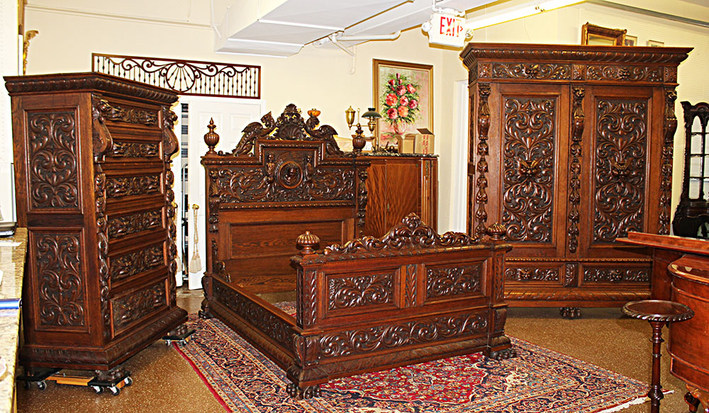 Museum Quality R J Horner of New York Massive Carved Oak 3 Piece Bedroom  Set Original Finish - SOLD - NJ Antique Bed Furniture - Mill House Antiques, NJ