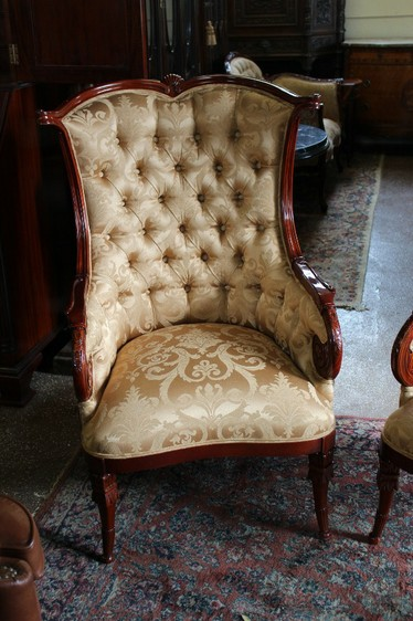 gorgeous pair gold damask upholstered fireside lounge wing chairs mahogany