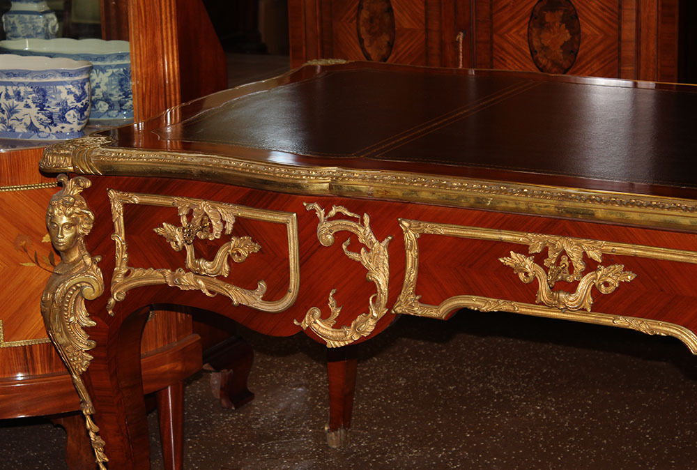 Best French Figural Bronze Rosewood Bureau Plat Executive Writing Desk MINT  1910 -SOLD - Antique Desks And Library Tables