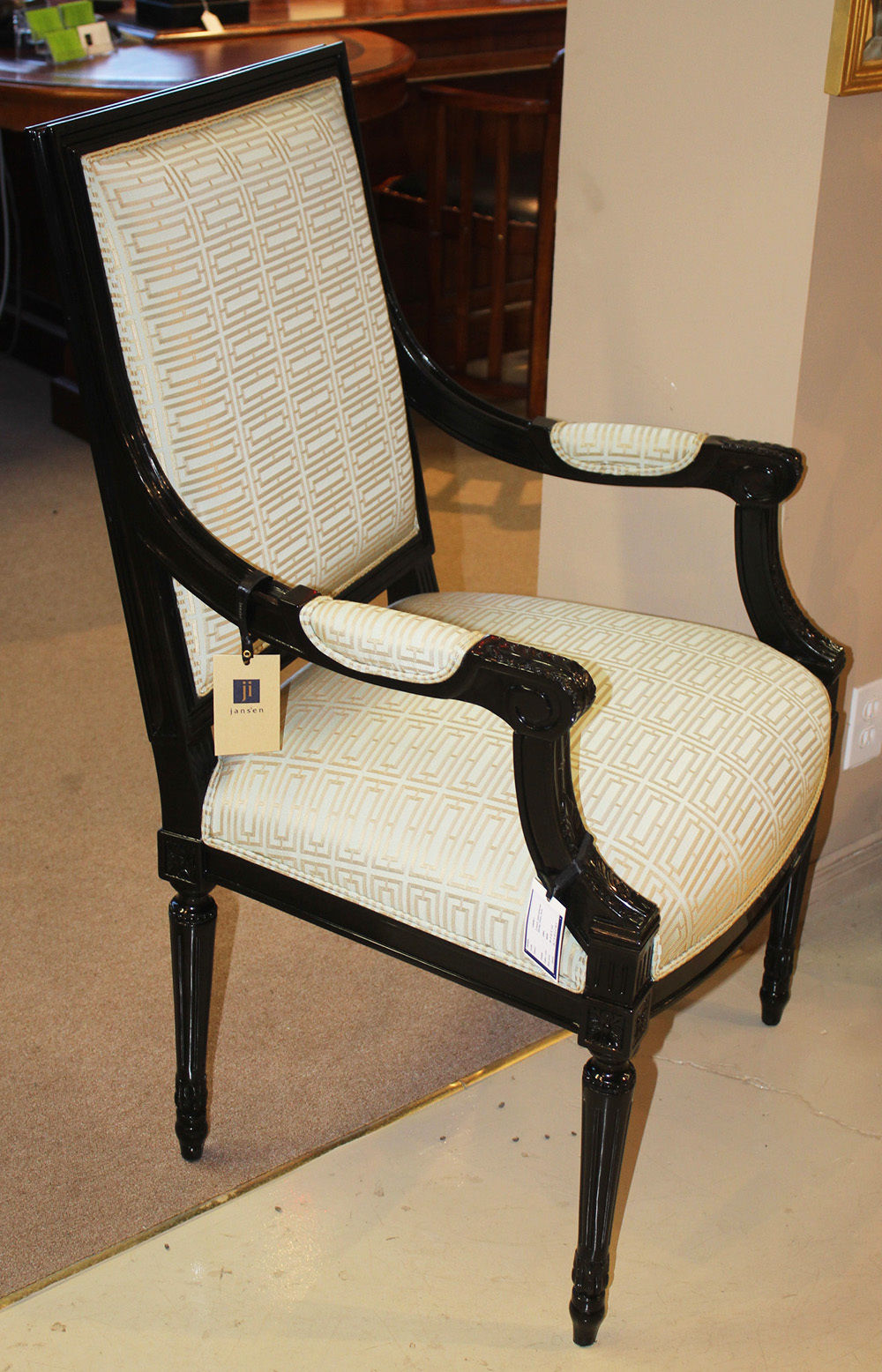 Pair Maison Jansen Style Genuine SILK Upholstered Black Lacquer Open Arm  Chairs
