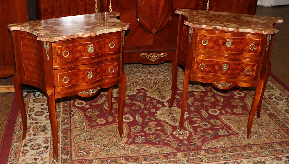 Best French Marquetry KingWood Marble Top Night Stands Tables C1910  Restored!
