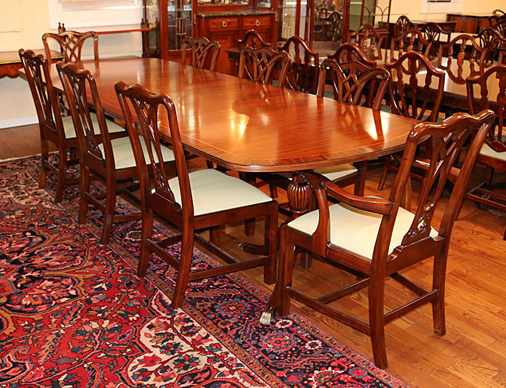 ebay antique mahogany dining table extension for sale exceptional regency banded leaves mint philippines