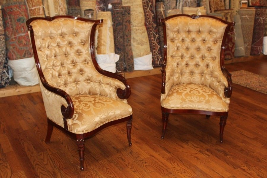 English Pair Tufted Georgian Mahogany Fireside Lounge Parlor Chairs Large  MINT - Antique Chairs