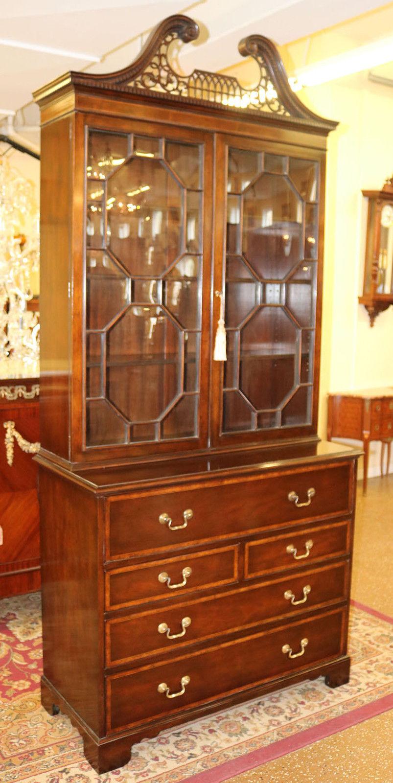 Rare PRISTINE Mahogany BAKER Secretary Desk Bookcase China Cabinet MINT  C1950 - Antique Cabinets-Bookcases