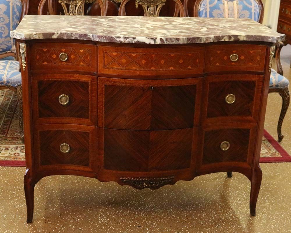 best restored slack u rassnick kingwood satinwood marble top french commode with commode coloniale. Black Bedroom Furniture Sets. Home Design Ideas