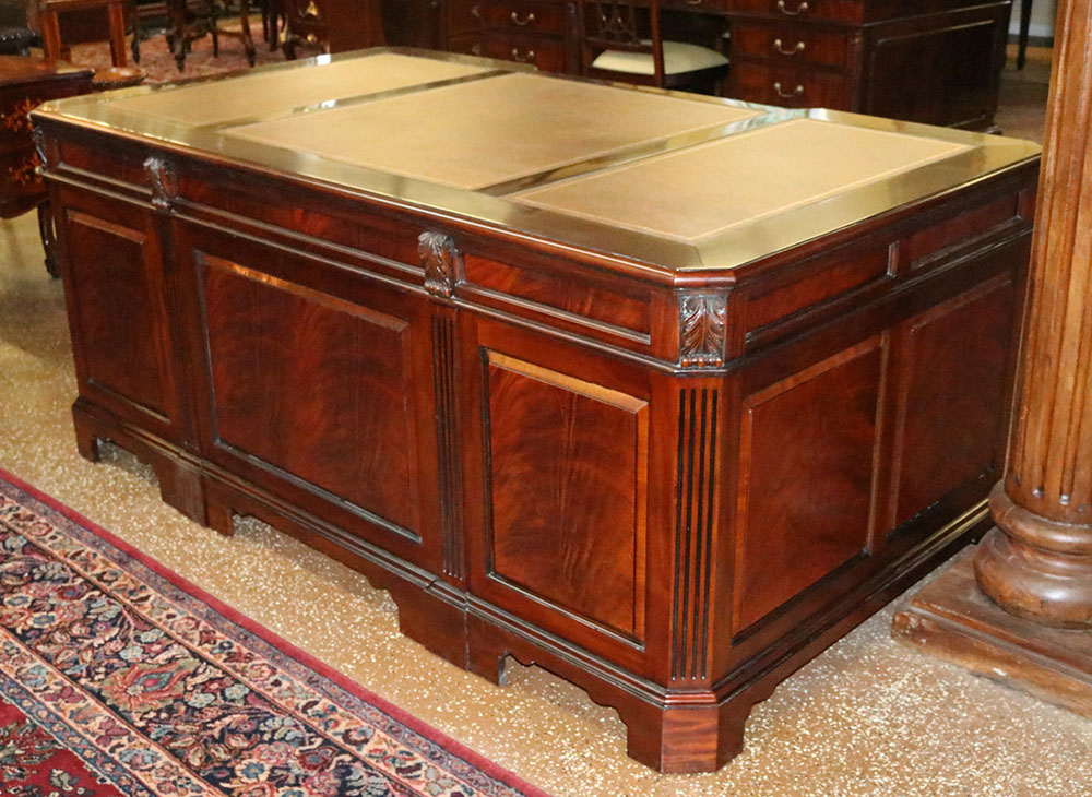 Superb English Chippendale Gany Leather Top Executive Desk W Modesty Panel