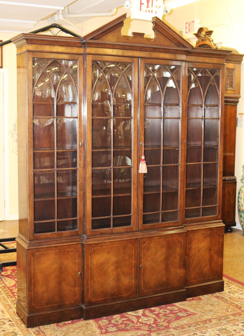 Gorgeous BAKER Medium Mahogany 65 In Wide Federal 2 Piece Breakfront  Bookcase