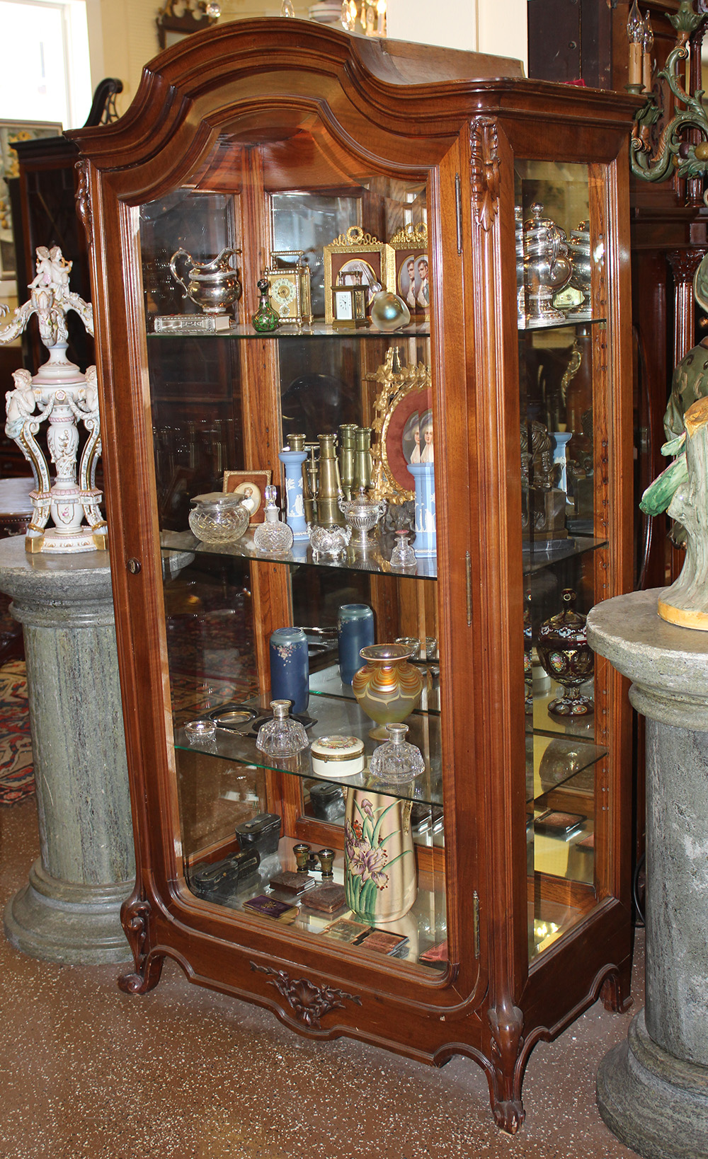 Rare French Carved Walnut Beveled Glass China Cabinet Vitrine Louis XV C1880