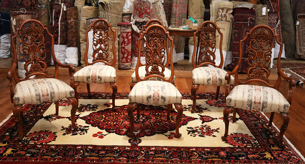 989938a6bcb77 Best Set 6 Six French Carved Walnut Newly Upholstered Restored Dining Chairs