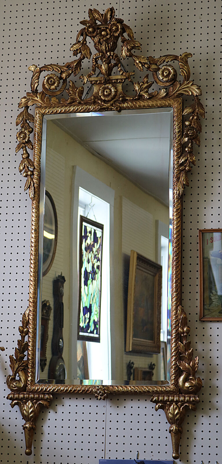 Superb 1880 S Tall French Carved Gilded Mirror W Flowers